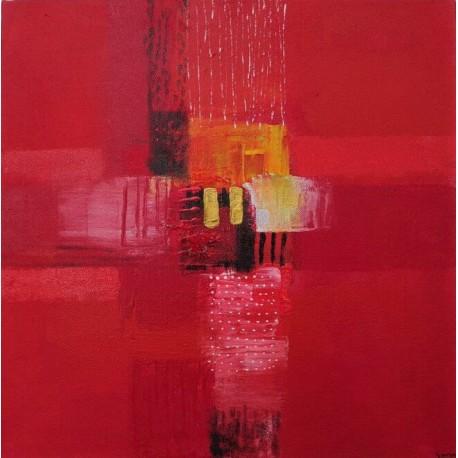 Petit tableau rouge 40x40 cm