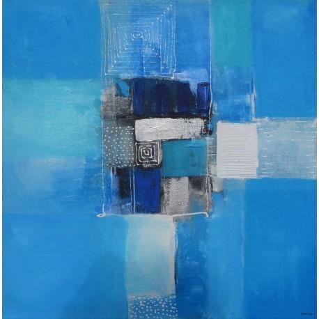 Petit tableau décoratif bleu 50x50 cm
