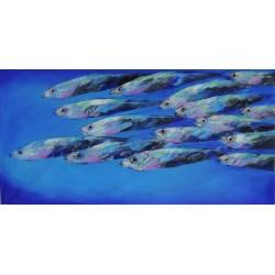 Tableau fresque taille XL 200x100 cm banc de poissons mer bleue