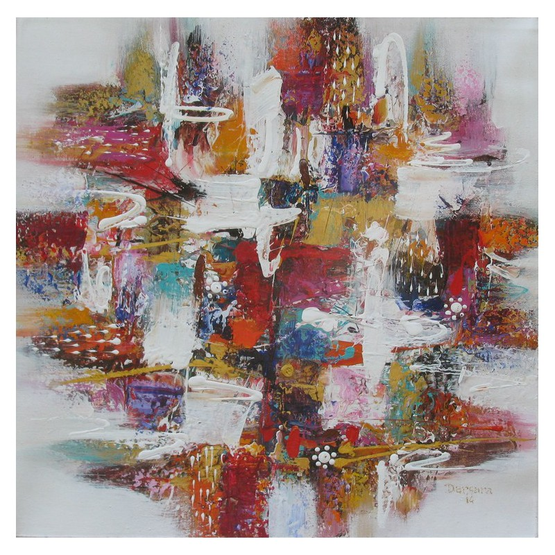 Tableau carr contemporain color 70x70 cm darsana - Tableau contemporain colore ...