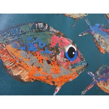Peinture décorative poissons fond vert foncé 100x80 cm
