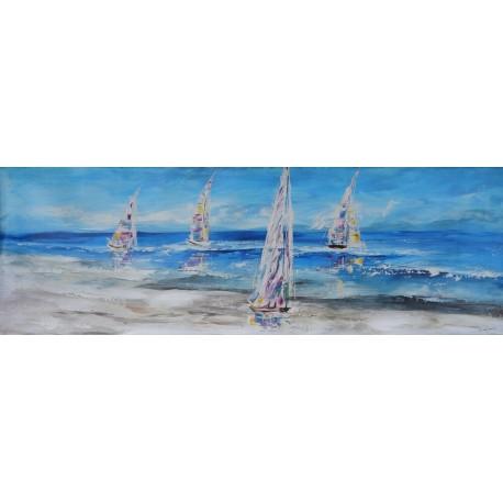 Tableau bateaux voiliers sur l'eau 150x50 cm