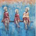 Tableau cadre filles sur un banc 80x80 cm