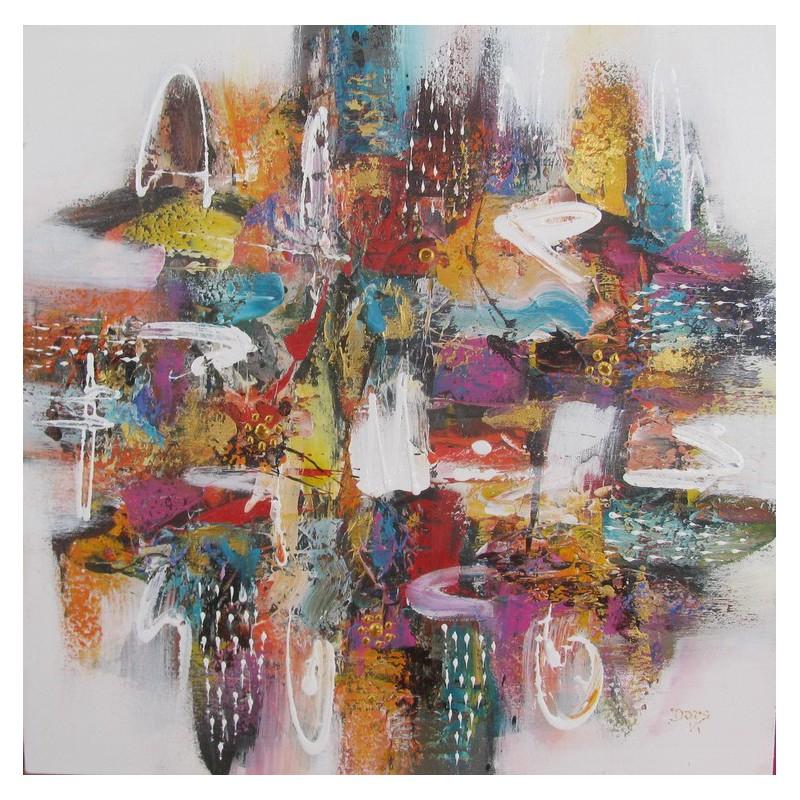 Tableau abstrait carre de couleurs 70x70 darsana - Peinture carre couleur ...