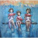 Tableau carré filles et pastèque 80x80 cm