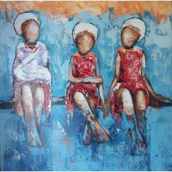 Tableau deco enfants sur un banc 60x60 cm