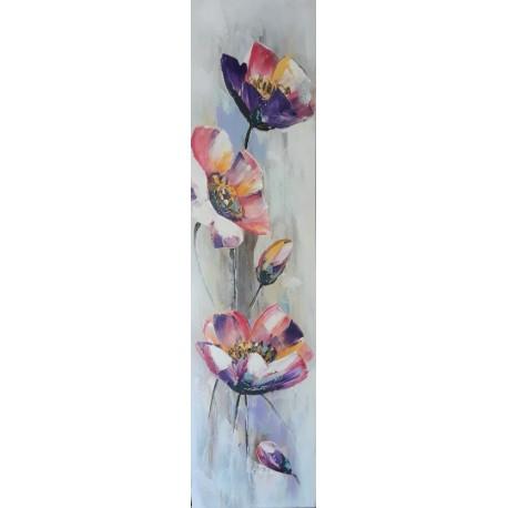 Peinture florale verticale 120x30 cm