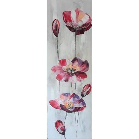 Peinture florale design 120x40 cm