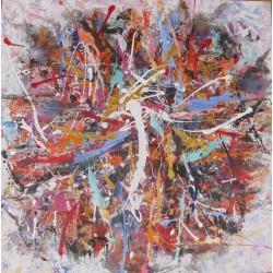DARSANA- Tableau abstrait carré 70x70 cm