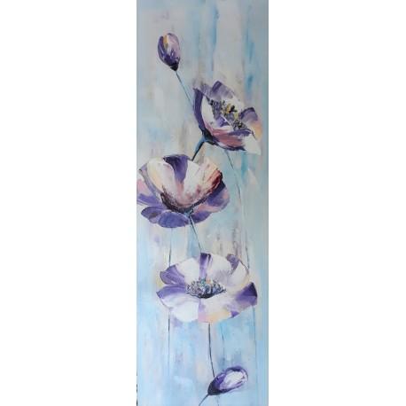 Tableau design vertical fleurs 120x40 cm