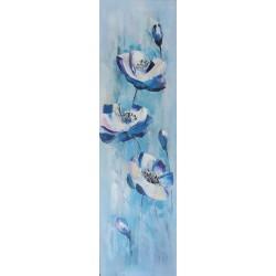 Tableau décoratif fleurs bleues 140x40 cm