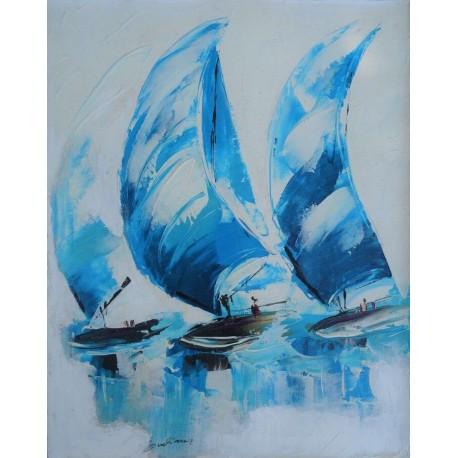 Déco mer bateaux sous spi bleu blanc 60x40 cm