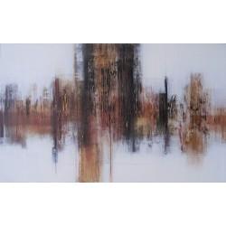 Tableau peint décoratif marron-blanc 144x90 cm