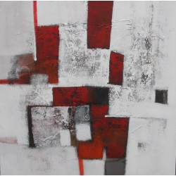 Tableau abstrait contemporain ton blanc-rouge- 100x100 cm- Suwitra