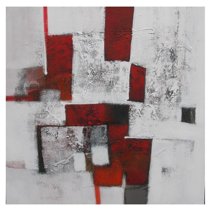 Tableau abstrait contemporain ton blanc rouge 100x100 cm for Tableau contemporain