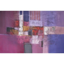 Tableau abstrait moderne horizontal violet pourpre 150x100cm