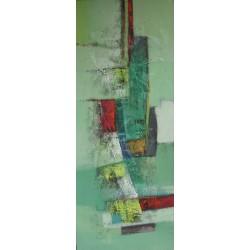 Tableau abstrait vertical ton vert- 150x60 cm-Suwitra