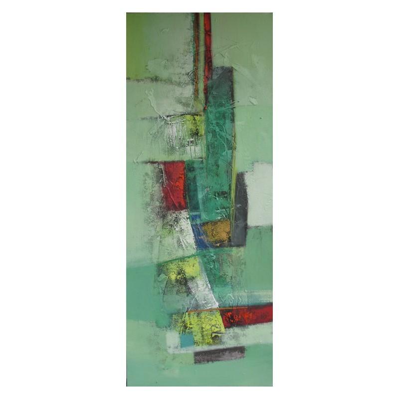 tableau abstrait vertical ton vert 150x60 cm suwitra. Black Bedroom Furniture Sets. Home Design Ideas