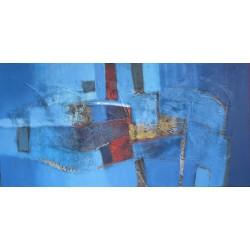 Tableau contemporain bleu abstrait horizontal- 140x70 cm- Suwitra
