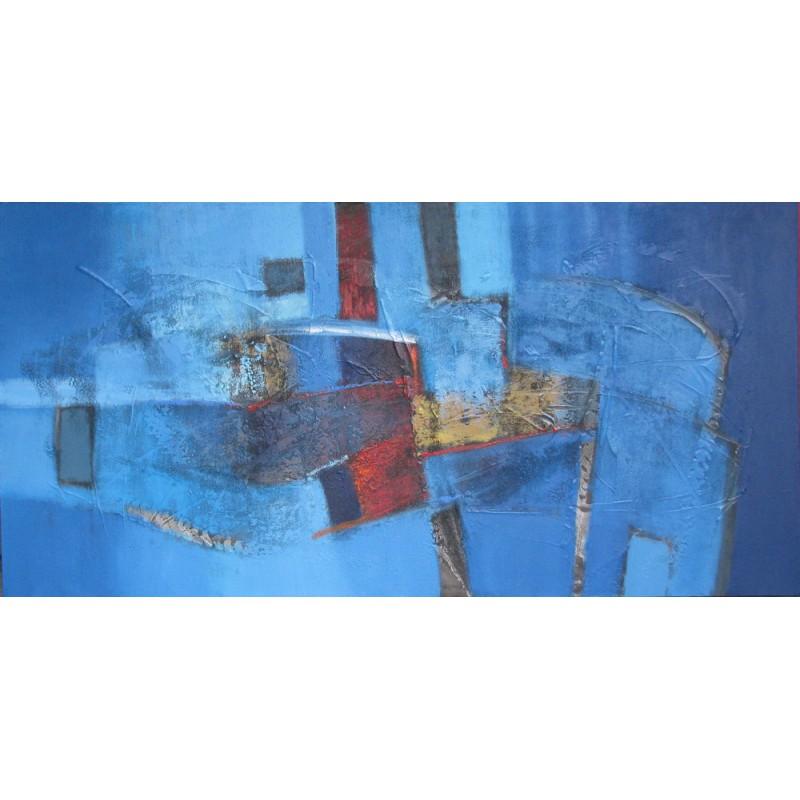 Tableau contemporain bleu abstrait horizontal 140x70 cm suwitra - Tableau abstrait contemporain ...