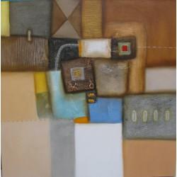 Tableau abstrait couleur brun-100x100 cm