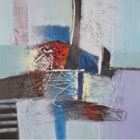 Tableau abstrait carré ton bleu pastel- 80x80 cm- Suwitra