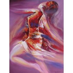 Peinture Danseuse sur fond violet - 80x60 cm