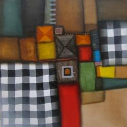 Tableau couleur brun-damier- 100x100 cm
