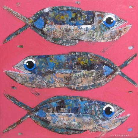 Peinture poissons sur fond rose - 90x90 cm artiste Tinggal