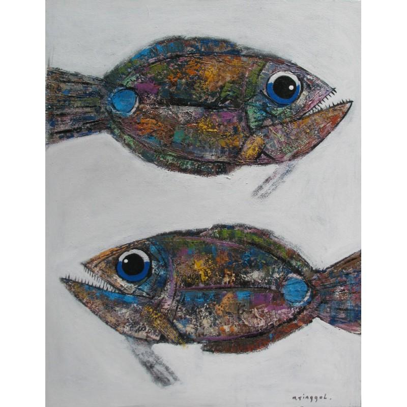 Id e deco chambre toile de poisson acrylique sur fond for Decoration pour poisson