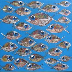 Tableau carré banc de poissons sur fond bleu clair- 90x90 cm