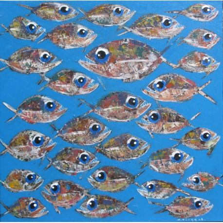 Tableau carré banc de poissons sur fond bleu clair- 90x90 cm - Tinggal