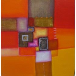 Tableau couleur orange-rouge- 100x100-Paul