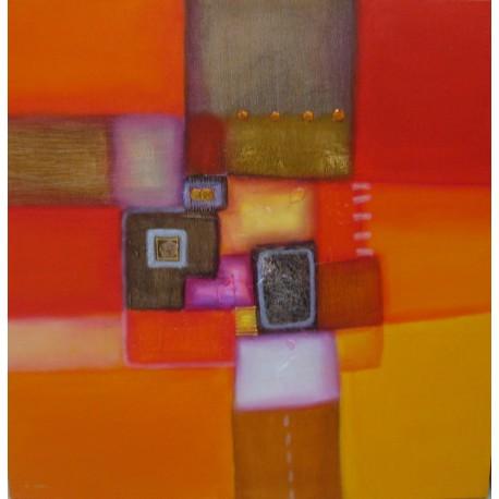 Tableau couleur orange-rouge- 100x100-Paul