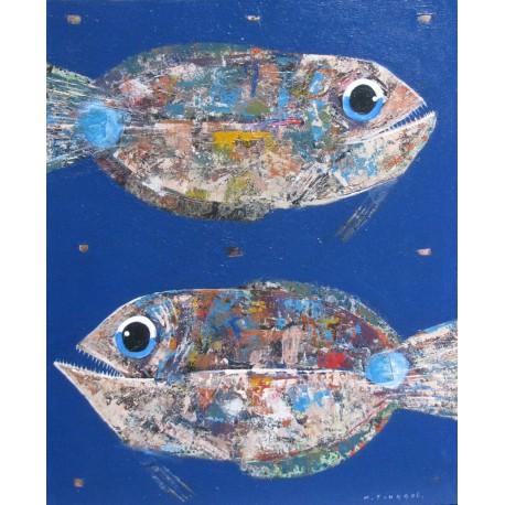 Tableau gros poissons sur fond bleu mer- 110x90 cm - Tinggal