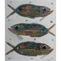 Peinture huile poissons sur fond blanc- 120x100 cm
