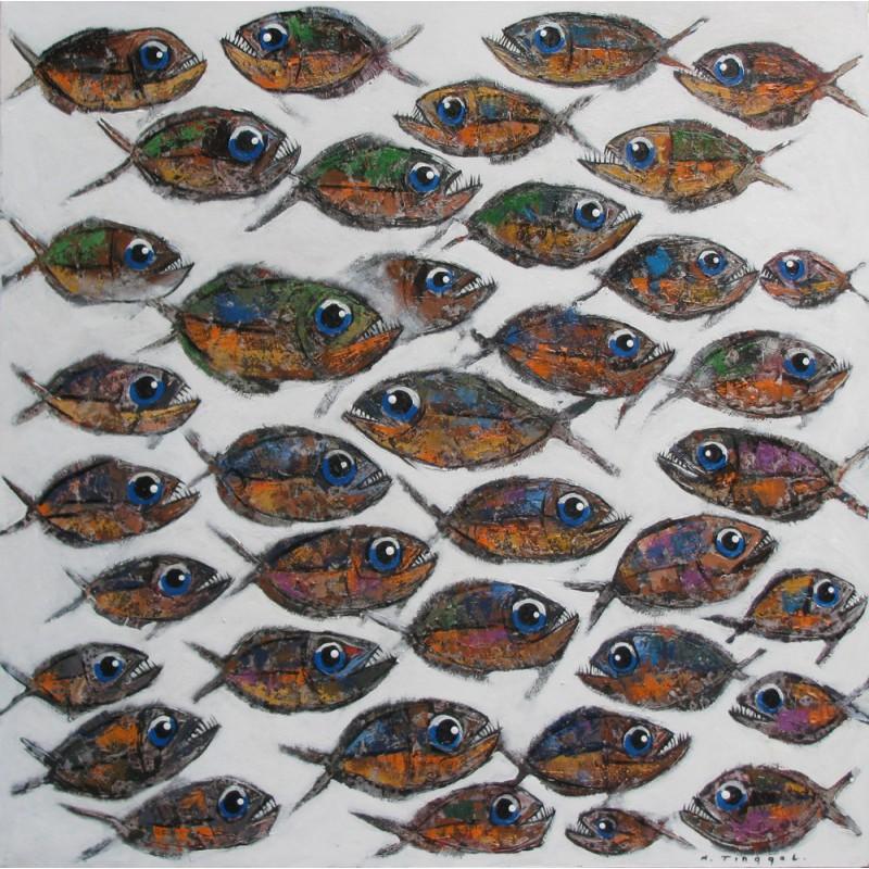 Peinture banc de poissons grand format carr poisson xl - Grand poisson de mer ...