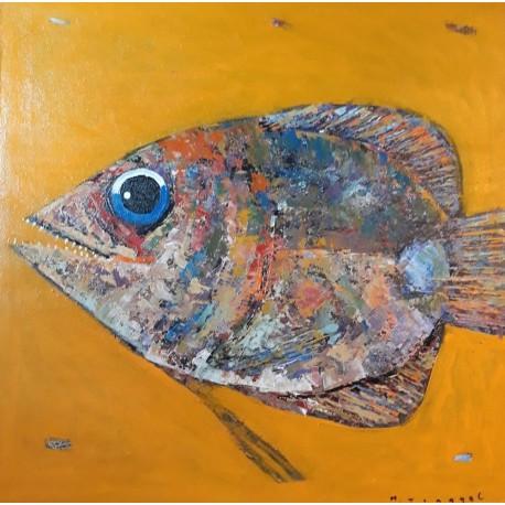 Peinture sur cadre gros poisson format 70x70 cm
