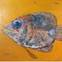 Peinture sur cadre gros poisson sur fond jaune foncé format 70x70 cm