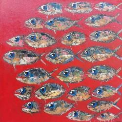 Toile peinture petits poissons format 70x70 cm