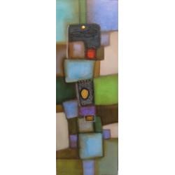 Tableau abstrait contemporain vertical bleu-vert -150x55-Paul