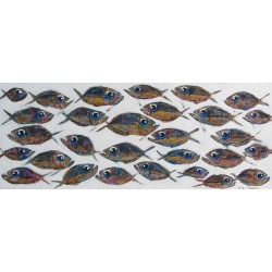 Banc de poissons-Tableau format horizontal- 150x60 cm- Tinggal