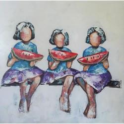 Tableau fillettes et pastèque 60x60 cm