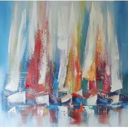 Cadre peint voiliers colorés 80x80 cm