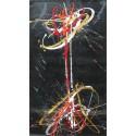 Tableau contemporain vertical noir abstrait- 140x80-Suarsa
