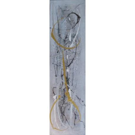 Tableau abstrait format vertical gris- 150x40- Suarsa