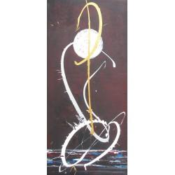 Tableau contemporain vertical ton aubergine- 150x70- Suarsa