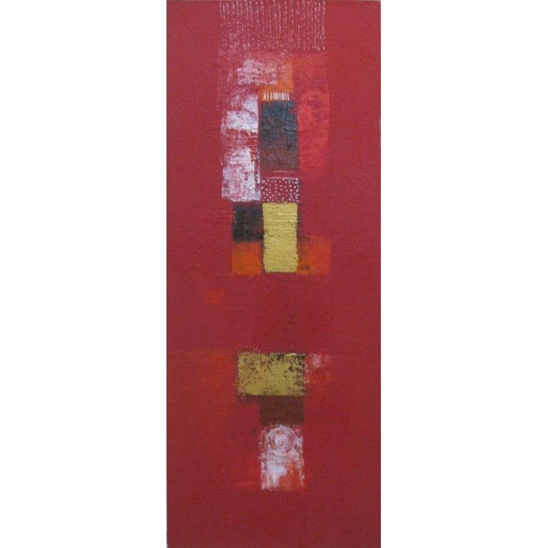 Tableau abstrait vertical rouge 100x40 cm d co entr e for Tableau home deco moderne