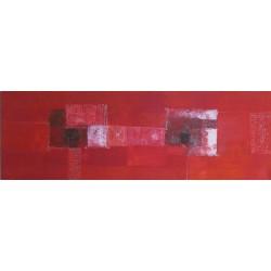 Tableau abstrait horizontal rouge- 150x50 cm- Suarsa