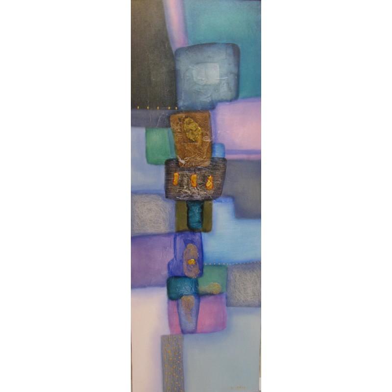 Tableau abstrait retro chic vertical turquoise violet for Tableau geometrique pastel